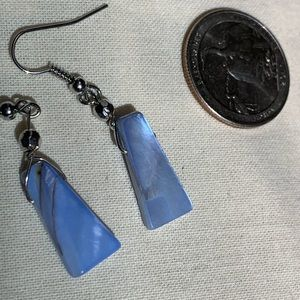 Jewelry - New blue stone silver tone metal earrings